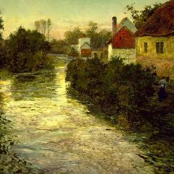Frits thaulow village on the bank of a stream walters 37175